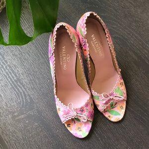 Valentino Floral Peep Toe Pumps